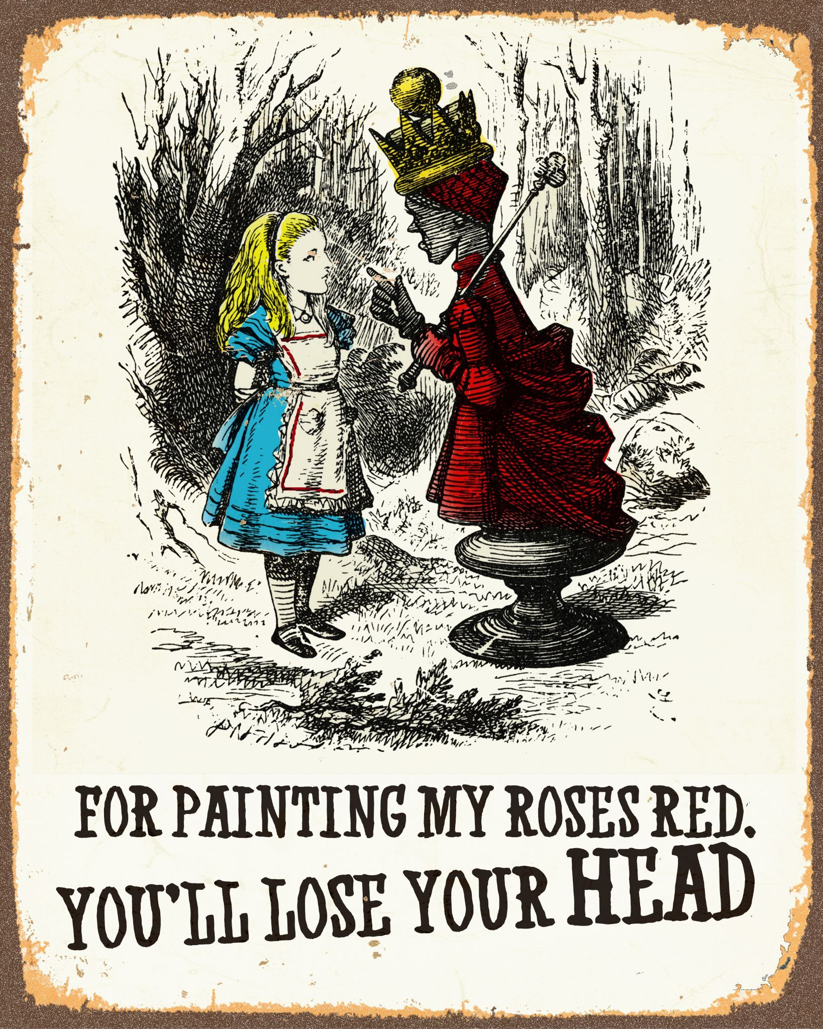 alice in wonderland painting my rose off with your head metal